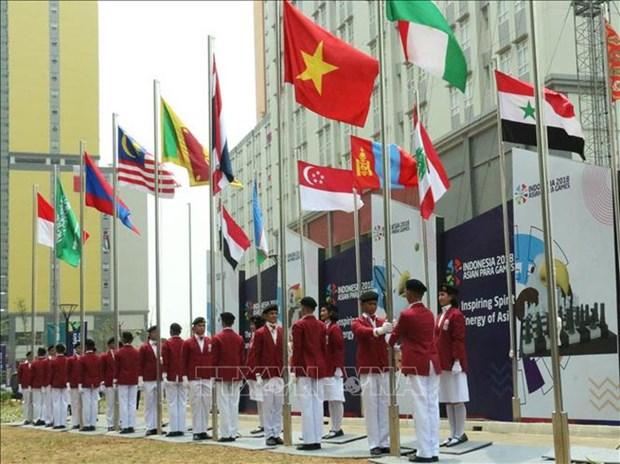 Vietnamese flag flies at 2018 Asian Para Games hinh anh 1