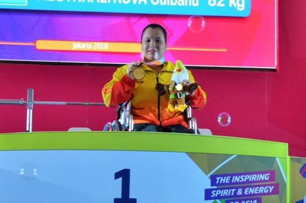Female weightlifter wins gold medal at Asian Para Games 2018 hinh anh 1