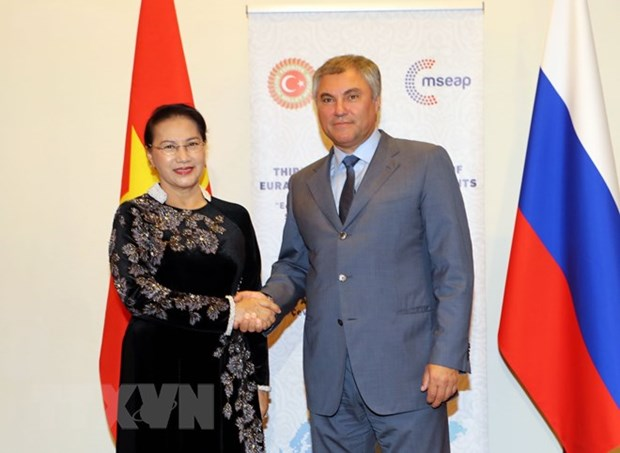Top Vietnamese legislator meets Chairman of Russia's State Duma hinh anh 1