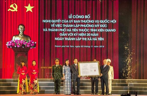 Kien Giang: establishment of Ha Tien city announced hinh anh 1