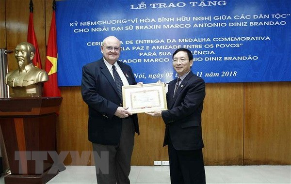 Friendship insignia bestowed upon outgoing Brazilian ambassador hinh anh 1