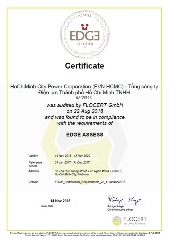 HCM City's Power Corporation gets global gender equality certification hinh anh 1