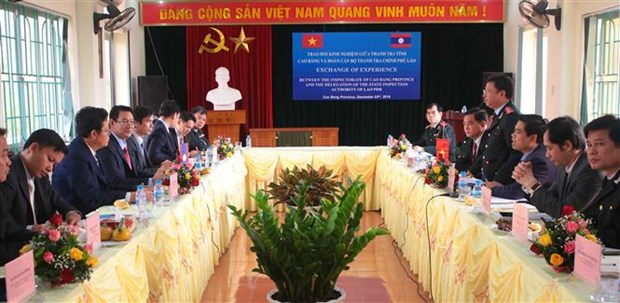 Cao Bang shares inspection experience with Lao inspectors hinh anh 1