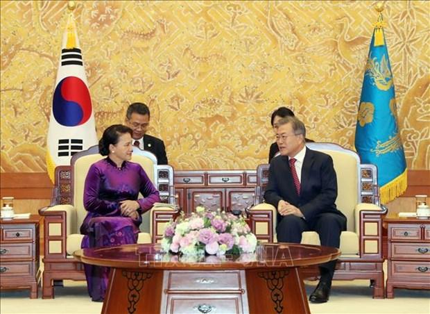 Korean media highlights meeting of Vietnamese NA Chairwoman, RoK President hinh anh 1