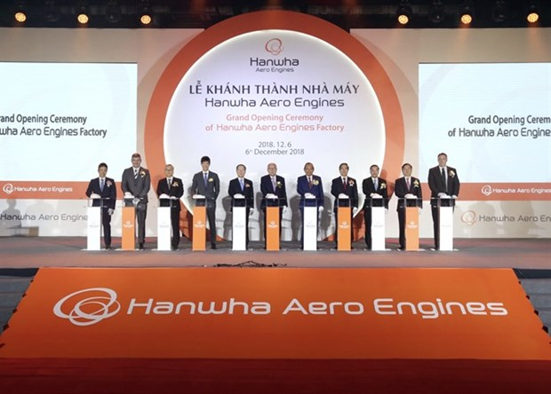 Hanwha aircraft engine parts factory inaugurated in Hanoi hinh anh 1