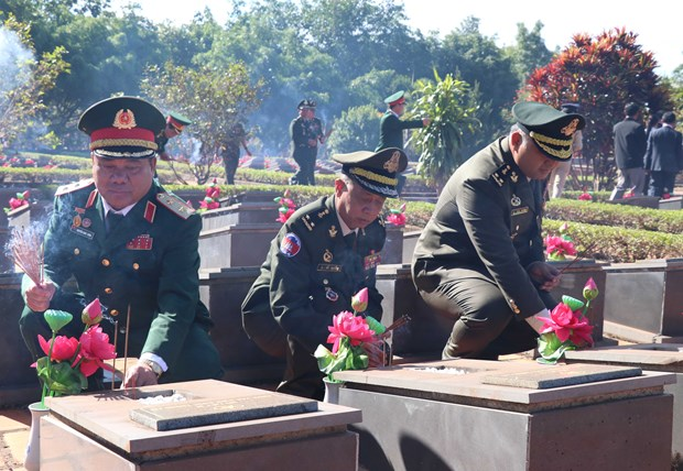 Cambodian armed forces delegation visits martyrs' cemetery in Gia Lai hinh anh 1