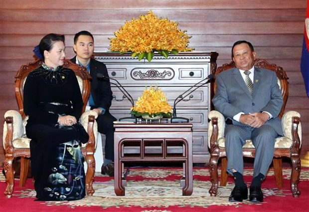 NA Chairwoman meets Cambodian Senate President hinh anh 1
