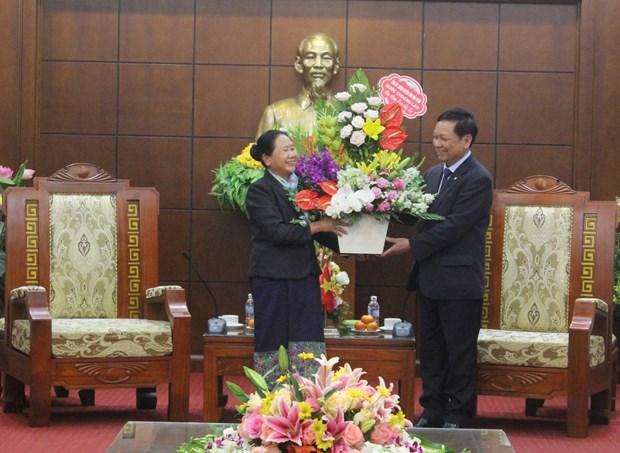 Lao delegation pays Tet visit to Hoa Binh hinh anh 1