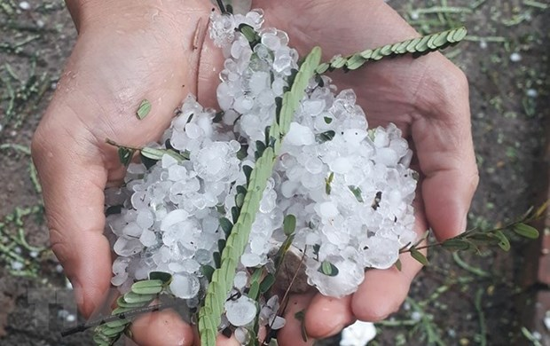 Hailstone, whirlwinds wreak havoc in northern provinces hinh anh 1