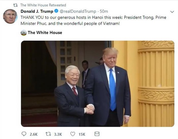 US President thanks Vietnam after DPRK-USA Hanoi Summit hinh anh 1