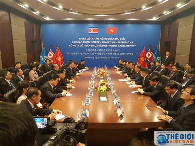 Senior officials of Workers' Party of Korea visit Hai Duong province hinh anh 1