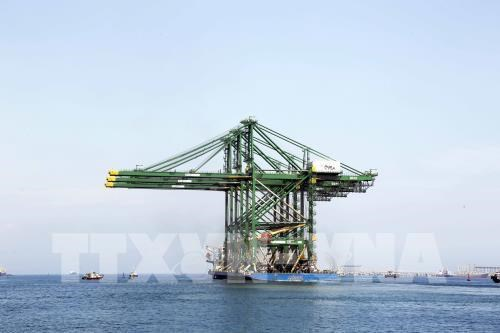 Three made-in-Vietnam giant cranes shipped to India hinh anh 1