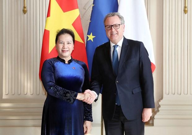 Vietnamese, French top legislators hold talks hinh anh 1