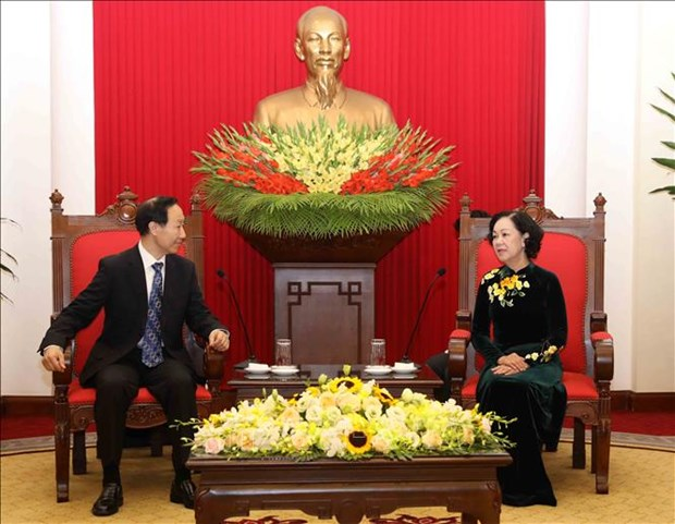 Party official receives Soong Ching Ling Foundation leader hinh anh 1