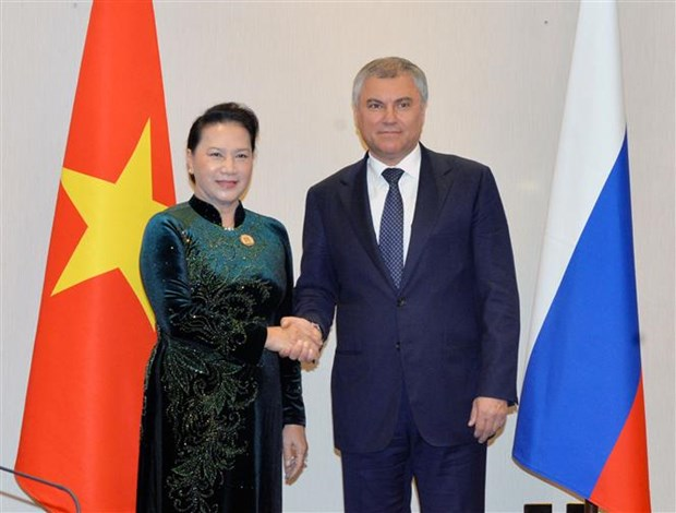 NA Chairwoman meets Chairman of Russia's State Duma hinh anh 1
