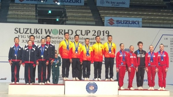 Vietnam wins three gold medals at international aerobics championship hinh anh 1