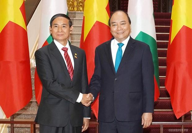 Prime Minister welcomes Myanmar President in Hanoi hinh anh 1
