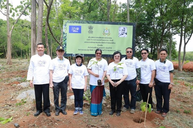 Thai Forest Department, Indian Embassy plant trees commemorating Gandhi hinh anh 1