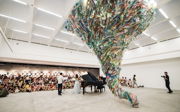 Artworks made from used plastic warn of environmental damage hinh anh 1
