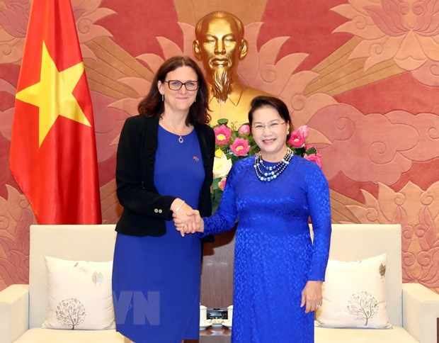 Top legislator, European trade commissioner talk about EVFTA hinh anh 1