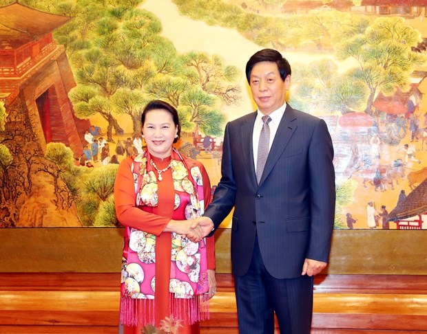 NA Chairwoman holds talks with Chinese National People's Congress leader hinh anh 1