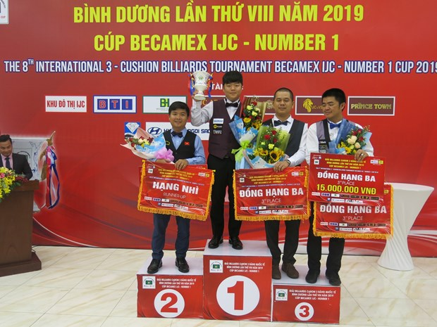 Vietnamese cueist finishes second at Int'l 3-Cushion Billiards Tournament hinh anh 1