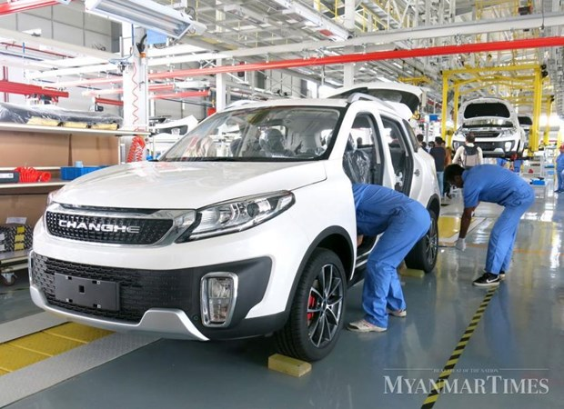 China-Myanmar joint venture rolls out first car assembled in Myanmar hinh anh 1