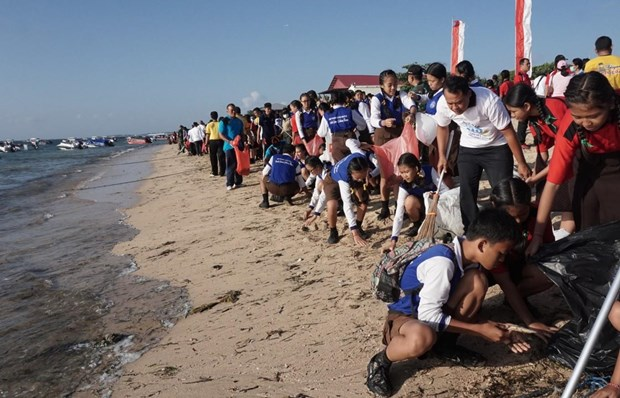 Thousands of Indonesians join beach cleaning activities hinh anh 1