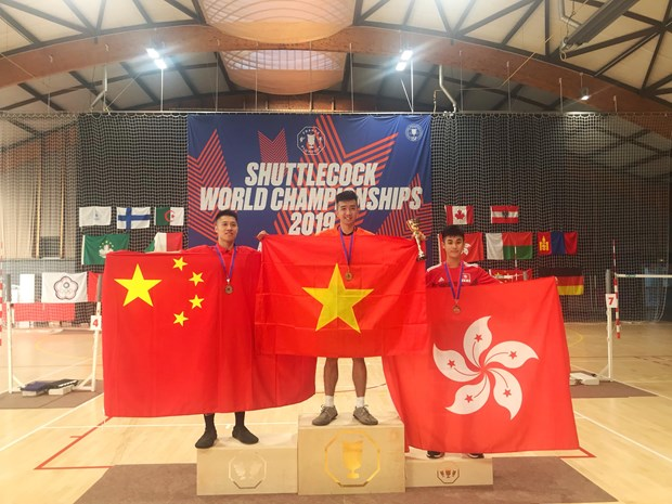 Vietnam win three golds at Shuttlecock World Championships 2019 hinh anh 1