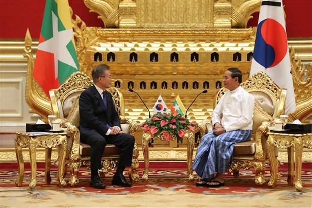 Korean President Moon Jae-in pays state visit to Myanmar hinh anh 1