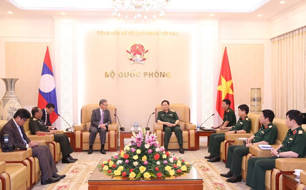 Defence minister hosts outgoing Lao ambassador hinh anh 1