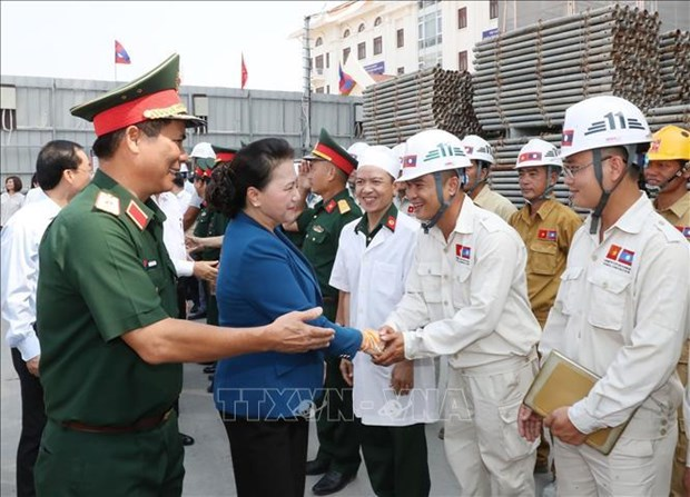 Top legislator visits construction site of Lao NA House, Vientiane province hinh anh 1