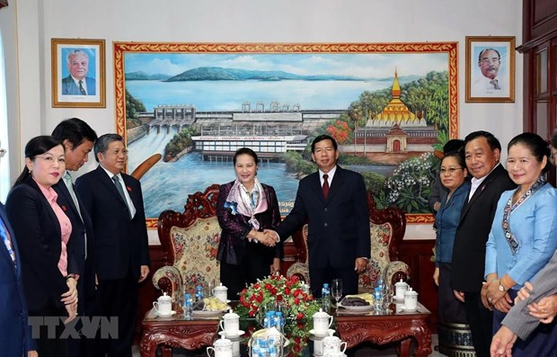 Top legislator visits construction site of Lao NA House, Vientiane province hinh anh 2