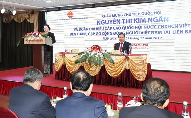 NA Chairwoman meets Vietnamese community in Russia hinh anh 1