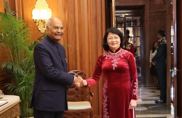 Vice President Dang Thi Ngoc Thinh meets Indian President hinh anh 1