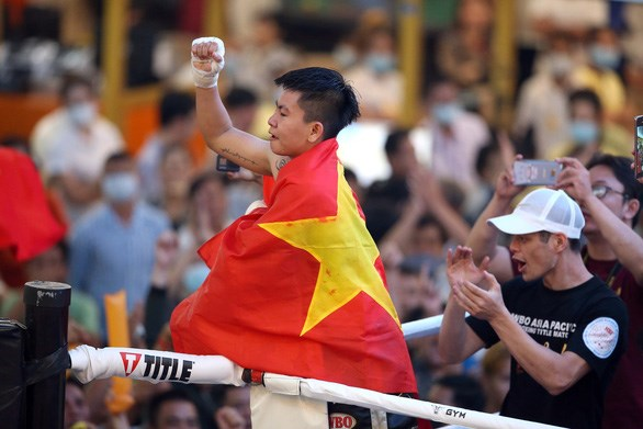 First Vietnamese female boxer wins WBO Asia Pacific competition hinh anh 1