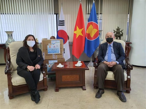 Vietnamese associations in RoK donate 3,000 face masks for COVID-19 fight hinh anh 1