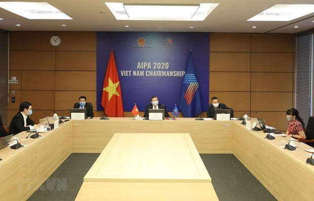 Vietnam attends teleconference on parliamentary role in fighting COVID-19 hinh anh 1
