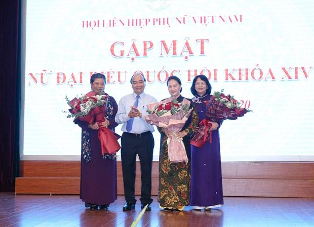 Prime Minister, top legislator meet with female NA deputies hinh anh 1