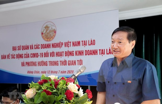 Talk discusses COVID-19 impact on Vietnamese firms in Laos hinh anh 1