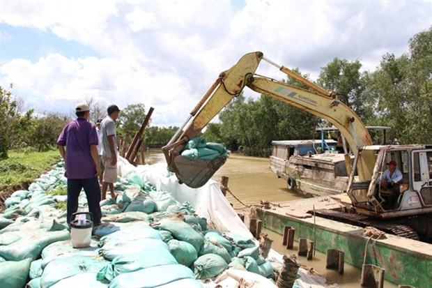 Ben Tre province repairs eroded riverbank section hinh anh 1