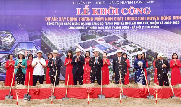 Construction of three infrastructure projects starts in Hanoi's outskirts district hinh anh 1
