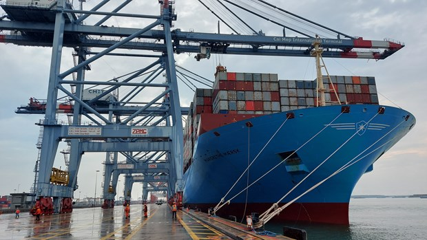 Southern sea port welcomes ultra-large container ship hinh anh 1