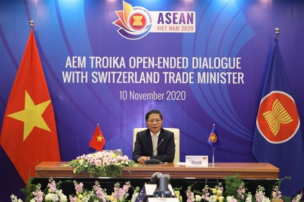 ASEAN economic ministers hold online troika dialogue with Switzerland hinh anh 1