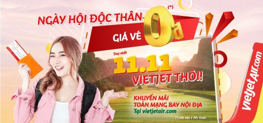 Vietjet offers millions of 0 VND tickets on Single's Day hinh anh 1
