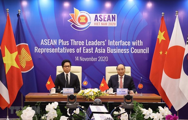 ASEAN Plus Three leaders talk with East Asia Business Council representatives hinh anh 1