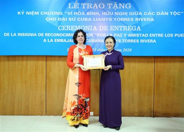 """Cuban Ambassador receives """"For peace and friendship among nations"""" insignia hinh anh 1"""
