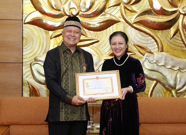 Indonesian Ambassador honoured with peace–friendship insignia hinh anh 1