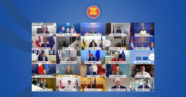 ASEAN, EU agree to lift ties to Strategic Partnership at AEMM 23 hinh anh 1