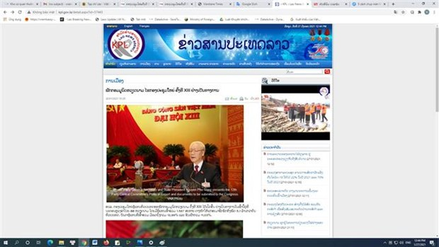 Lao newspapers cover opening of 13th National Party Congress hinh anh 2